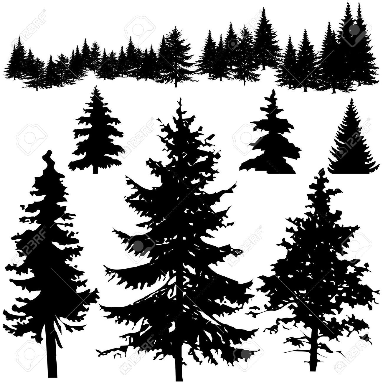 pine tree drawing tutorial
