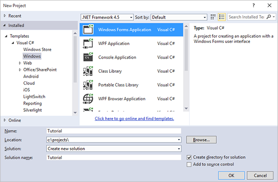 visual studio windows application tutorial