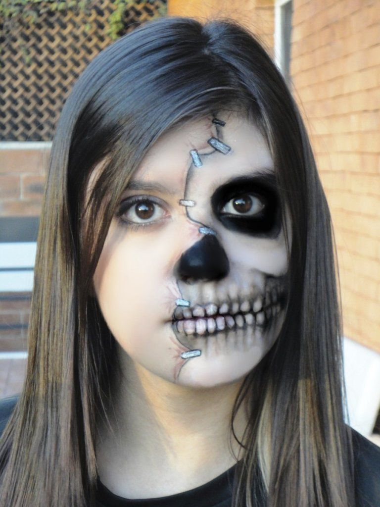 half face halloween makeup tutorial