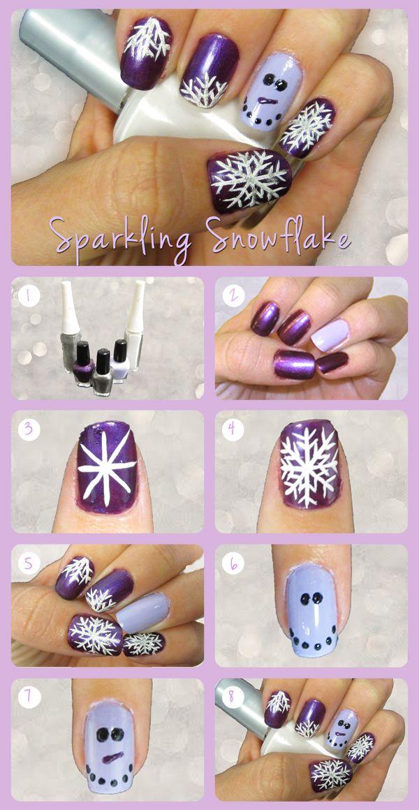 snow globe nails tutorial